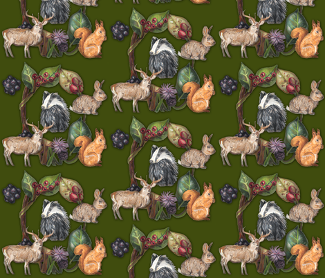 Woodland Creatures fabric by riamelin on Spoonflower - custom fabric