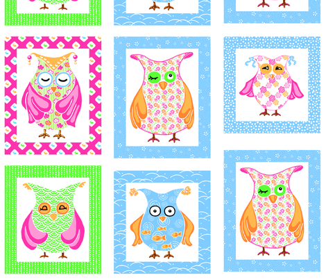 chouettes 12cm fabric by thelazygiraffe on Spoonflower - custom fabric