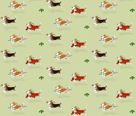 Christmas Beagles fabric by hauteideas on Spoonflower - custom fabric