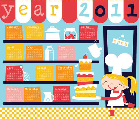Let's bake a big cake for 2011! fabric by bora on Spoonflower - custom fabric