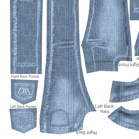 "Her Favorite Faded Jeans 16"" doll (Tyler) fabric by danielbingham on Spoonflower - custom fabric"