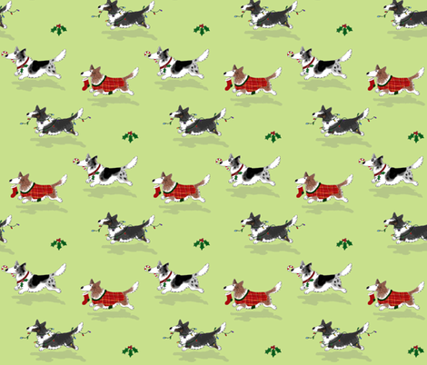 Christmas Corgis fabric by hauteideas on Spoonflower - custom fabric