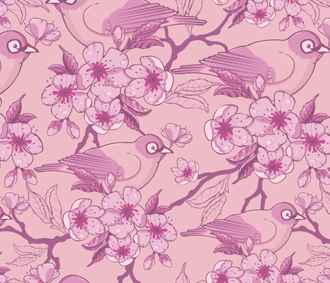 Birds and Sakura Blossoms fabric by oksancia on Spoonflower - custom fabric