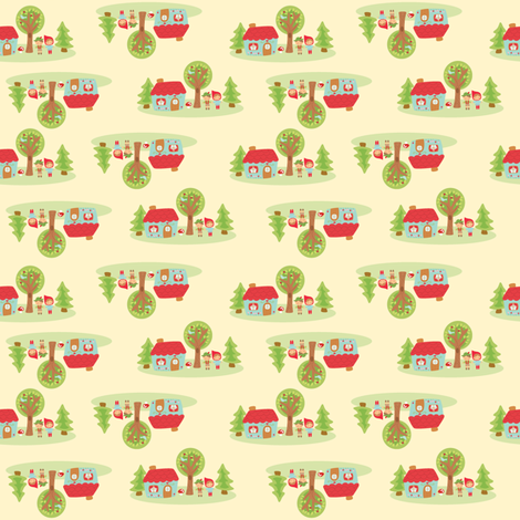 little house in the woods fabric by littledear on Spoonflower - custom fabric