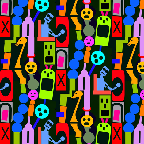 Robot Totems fabric by boris_thumbkin on Spoonflower - custom fabric