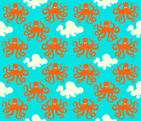 Octupus in the sky fabric by craftykricket on Spoonflower - custom fabric