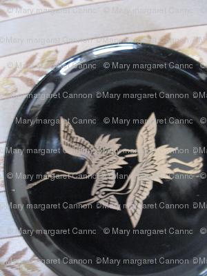 IMG_1625 Vintage Lacquer Coaster w/2 Cranes