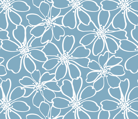 Daisy_in_Line fabric by thornbirds on Spoonflower - custom fabric