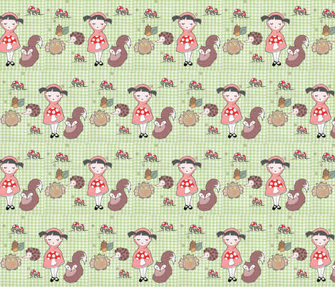 Little Red and the Woodland creatures fabric by hushaby&quirksdesigns on Spoonflower - custom fabric