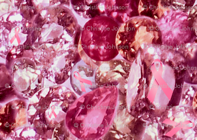 Pink ribbon sapphires and diamonds