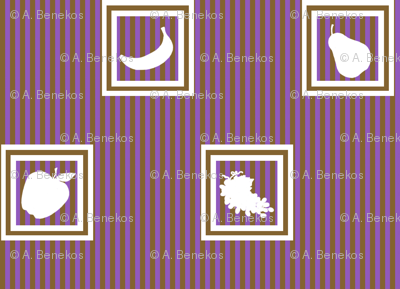 Fruits in Silhouette (Brown and Purple)