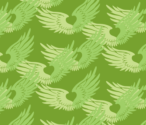Heartwings: Spring Greens fabric by penina on Spoonflower - custom fabric