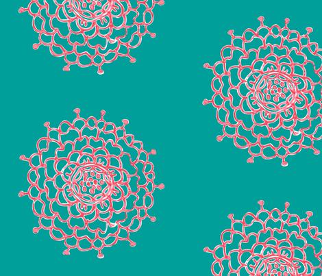 Christmas Chrysanthemums fabric by penina on Spoonflower - custom fabric