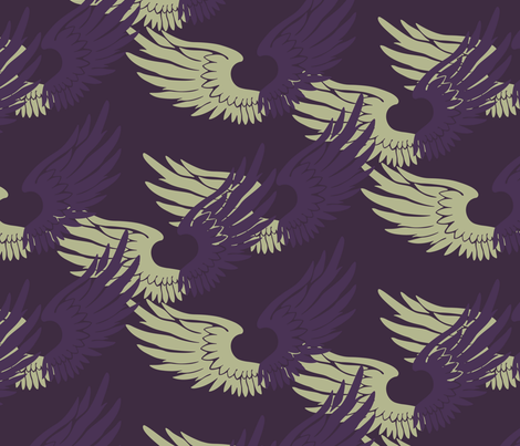 Heartwings: Purple and Beige 2 fabric by penina on Spoonflower - custom fabric