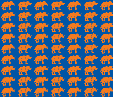 Smaller Orange Rhinos fabric by bad_penny on Spoonflower - custom fabric