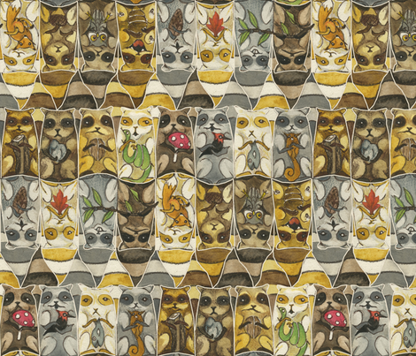 Raccoo-coo-cachoon (zoom for detail) fabric by ceanirminger on Spoonflower - custom fabric