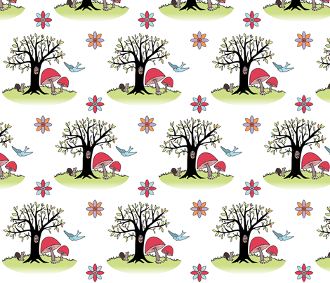 Woodland_Creatures2 fabric by annabhall on Spoonflower - custom fabric