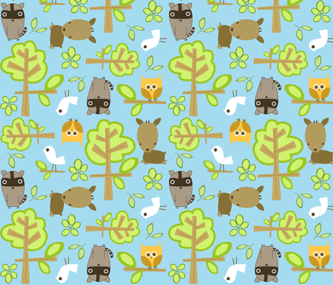 blue sky forest fabric by emilyb123 on Spoonflower - custom fabric