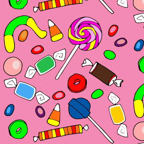 candy on pink background-ch fabric by efolsen on Spoonflower - custom fabric