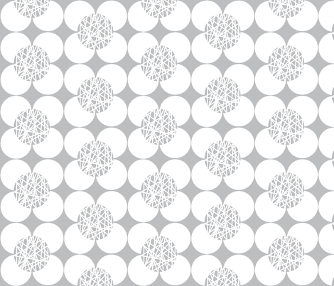 Fifties Flower White and Grey fabric by joanne_headington on Spoonflower - custom fabric
