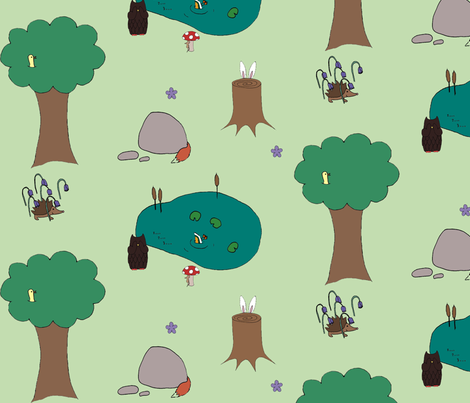 Woodland Hide'N'Seek fabric by mitzimakes on Spoonflower - custom fabric