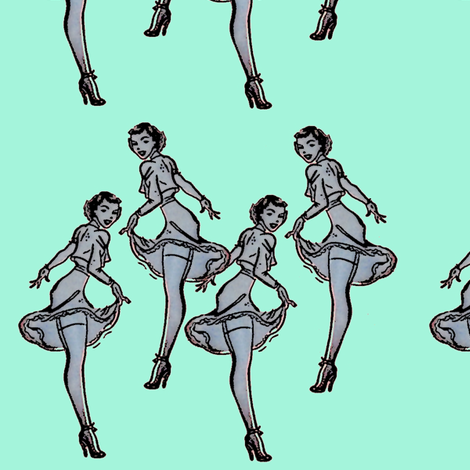 Pinups aqua fabric by nalo_hopkinson on Spoonflower - custom fabric