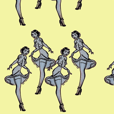 Pinups yellow fabric by nalo_hopkinson on Spoonflower - custom fabric