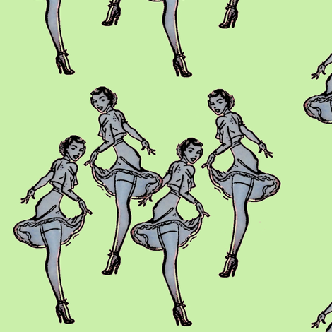 Pinups green fabric by nalo_hopkinson on Spoonflower - custom fabric