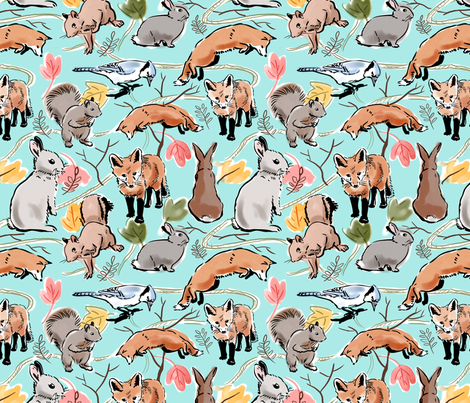 Woodland Creatures Blue fabric by vinpauld on Spoonflower - custom fabric