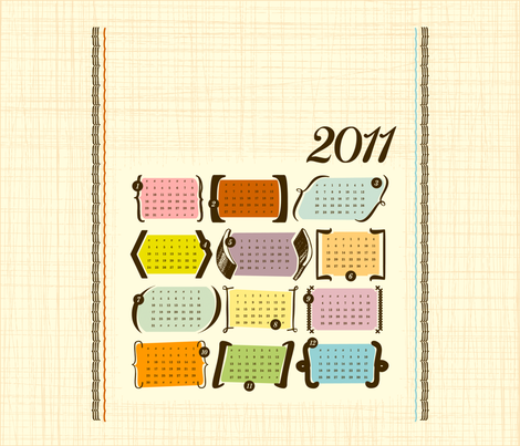 Smaller Parenthesis & Brackets / 2011 Tea Towel Calendar fabric by studio_jones on Spoonflower - custom fabric