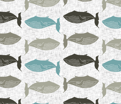 whale linen fabric by holli_zollinger on Spoonflower - custom fabric