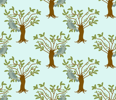 owl in tree fabric by lene_frid on Spoonflower - custom fabric
