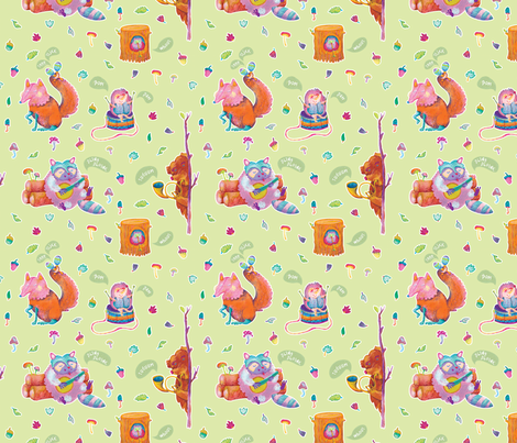 Sounds of the Woodland fabric by teken-ing on Spoonflower - custom fabric