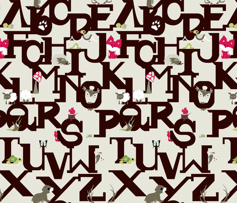 Woodland ABC's fabric by ttoz on Spoonflower - custom fabric