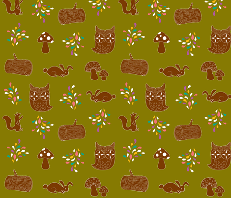 woodycreatures fabric by lilyvogt on Spoonflower - custom fabric