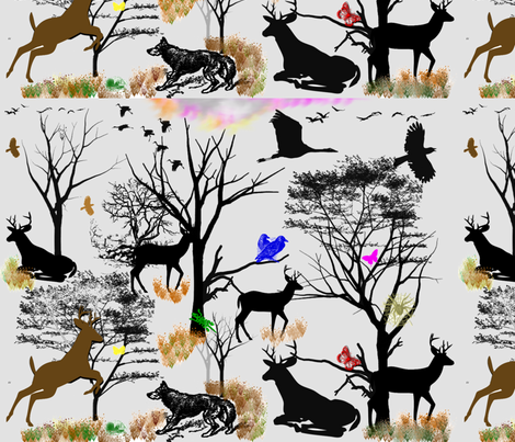 Dusk_in_the_Woodlands fabric by charldia on Spoonflower - custom fabric