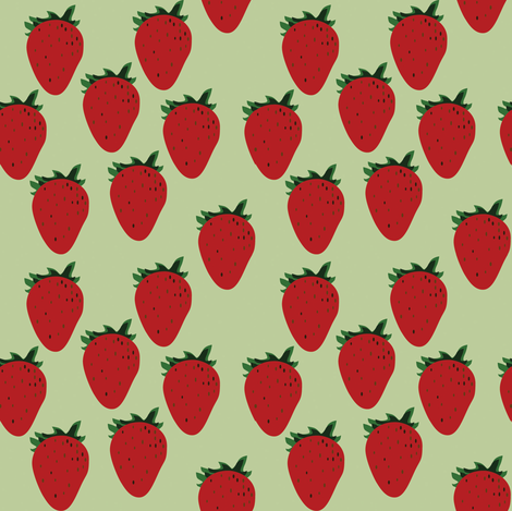 Green Strawberry fabric by nuuk on Spoonflower - custom fabric