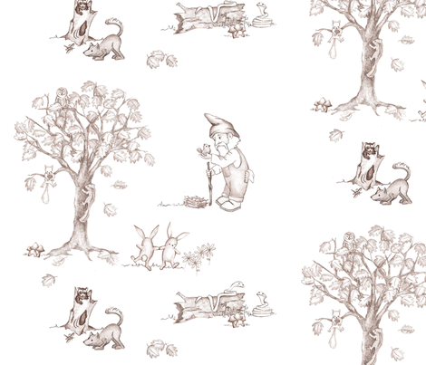 Woodland Toile fabric by wendy_seese on Spoonflower - custom fabric