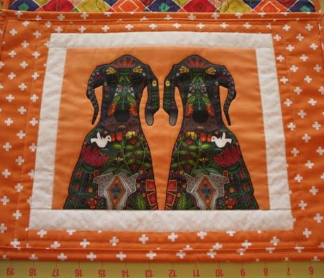 Great Dane Love tangerine placemat panels