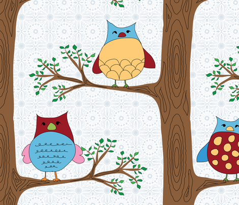 Family of owls (small repeat) fabric by shiny on Spoonflower - custom fabric