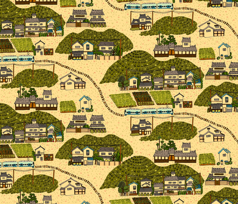 Kyoto Surroundings fabric by emuattacks on Spoonflower - custom fabric