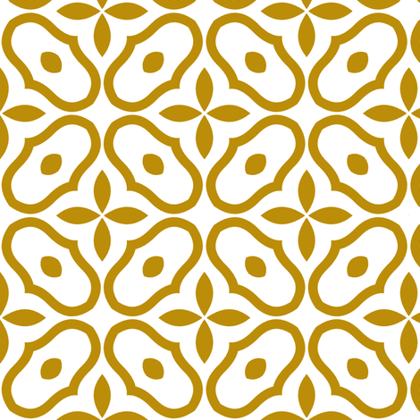 Mosaic - White and Old Gold fabric by inscribed_here on Spoonflower - custom fabric