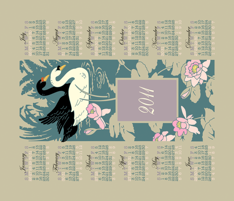 swan_calendar_print fabric by shelley_thornton on Spoonflower - custom fabric