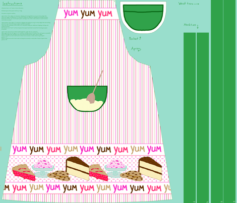 Yum_yum_yum_Dolly_and_me_coordinating apron for mom_1yard_kit fabric by victorialasher on Spoonflower - custom fabric
