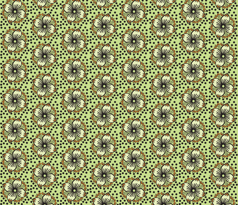 green poke a flower fabric by luluhoo on Spoonflower - custom fabric