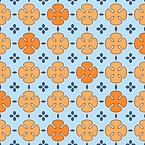 Mosharabi - Orange and Blue fabric by inscribed_here on Spoonflower - custom fabric
