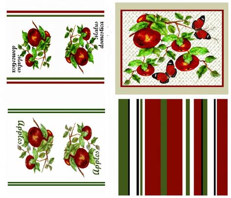 Apples Plenty tea towel set fabric by paragonstudios on Spoonflower - custom fabric