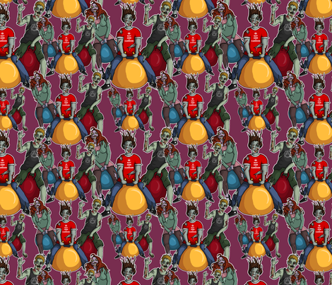Bouncing Zombies fabric by leeleeandthebee on Spoonflower - custom fabric
