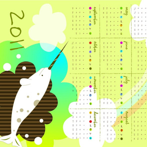Narwhal Dream Tea-towel Calendar