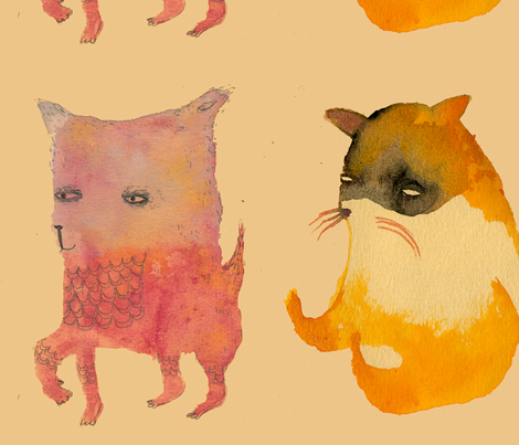 Three Animals on buff fabric by benconservato on Spoonflower - custom fabric